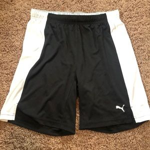 Black and White Puma Soccer Shorts